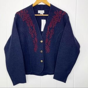 Doncaster Boiled Wool Navy Maroon Cardigan Large